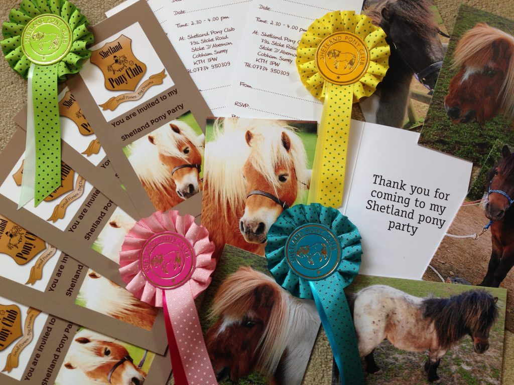 Party invitations, thank yous and Rosettes