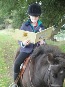 Reading the School Trot on a pony